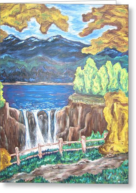 Greeting Card featuring the painting Path By The Falls by Cheryl Pettigrew