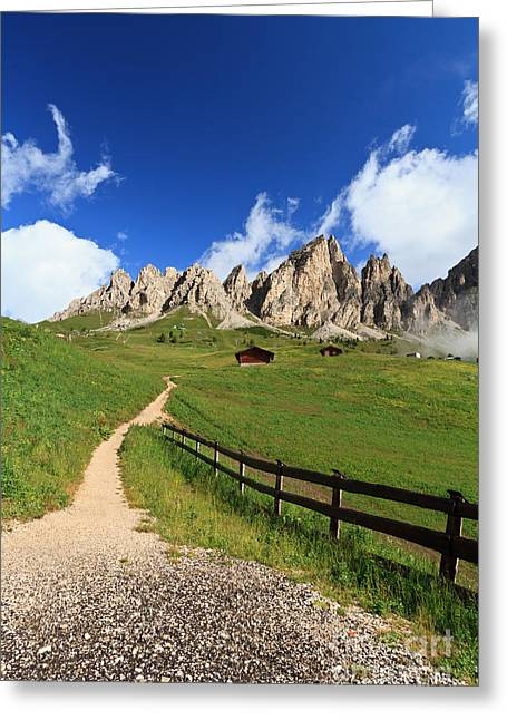 Greeting Card featuring the photograph path in Gardena pass by Antonio Scarpi