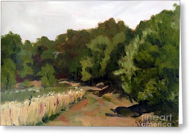Path In The Field Greeting Card by Janet Felts