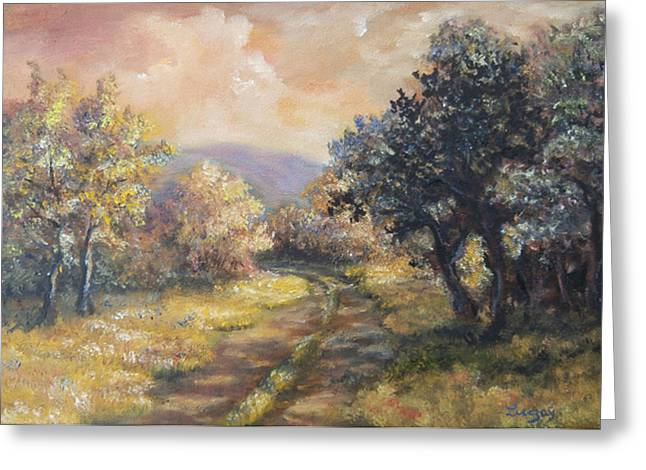 Greeting Card featuring the painting Path In The Woods by  Luczay