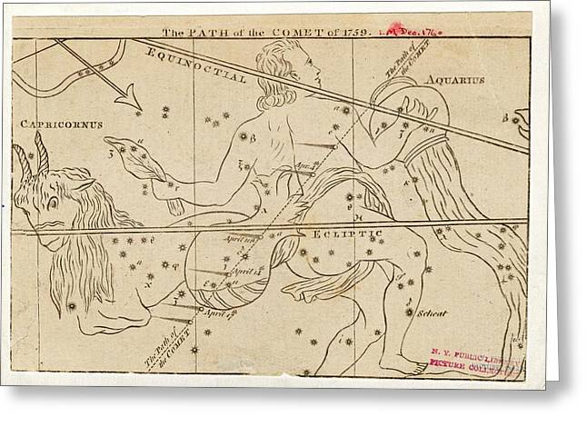 Path Of Halley's Comet Greeting Card by Art And Picture Collection/new York Public Library