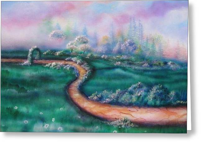 Path To Glory Panel 2 Greeting Card by Kendra Sorum