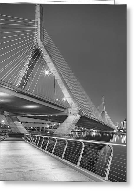Path To The Leonard P. Zakim Bridge Bw Greeting Card