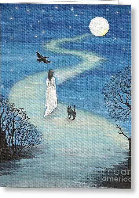 Path To The Moon Greeting Card by Margaryta Yermolayeva