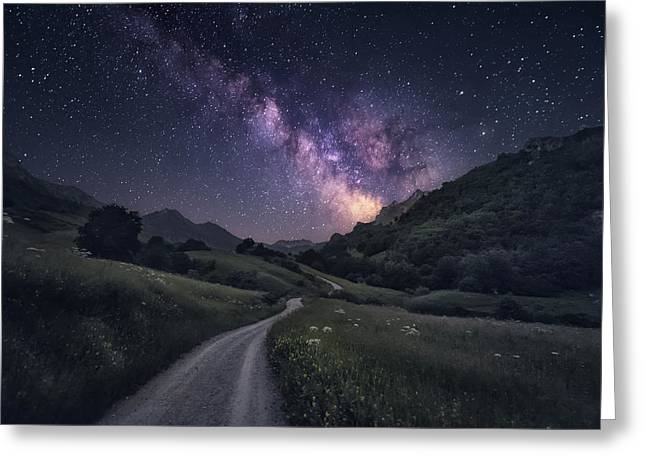 Path To The Stars Greeting Card by Carlos F. Turienzo