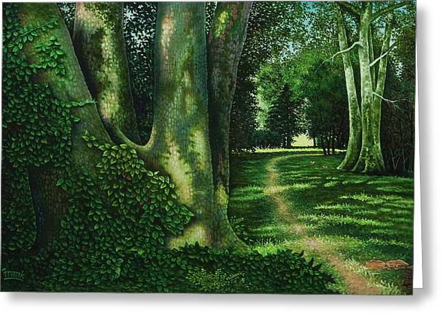Pathway Through The Sycamores Greeting Card