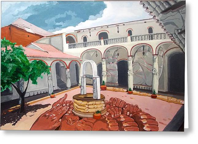Greeting Card featuring the painting Patio Colonial by Lazaro Hurtado