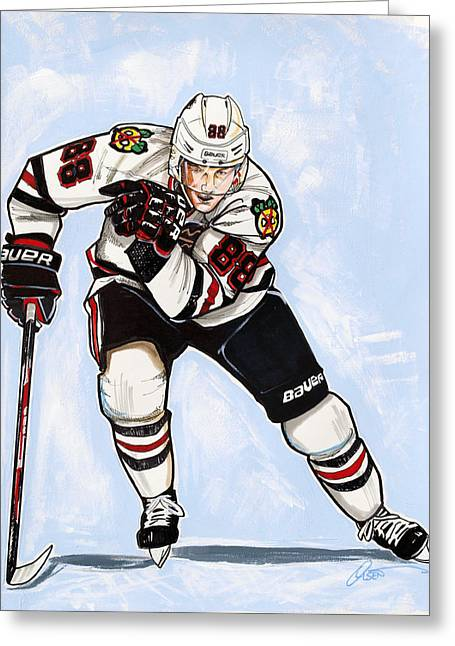 Patrick Kane Of The Chicago Blackhawks Greeting Card