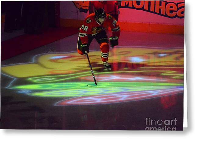 Patrick Kane Takes The Ice Greeting Card by Melissa Goodrich