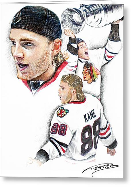 Patrick Kane - The Moment Greeting Card by Jerry Tibstra