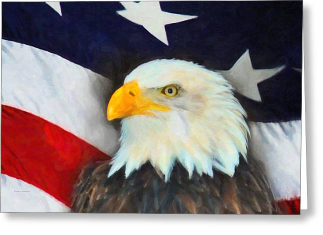 Patriotic American Flag And Eagle Greeting Card by Kenny Francis