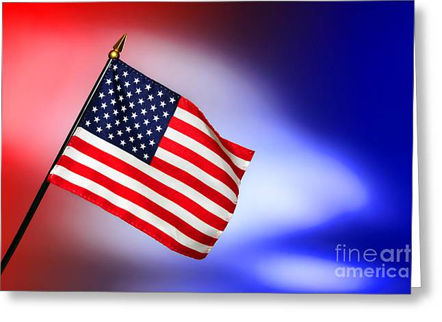 Color Glory Greeting Cards - Patriotic American Flag Greeting Card by Olivier Le Queinec