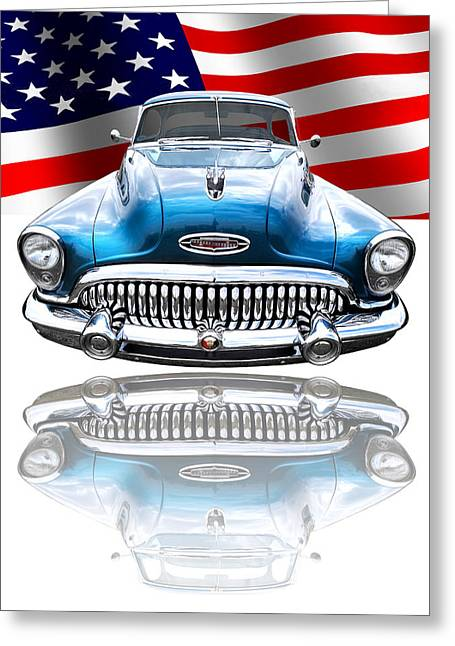 Patriotic Buick Riviera 1953 Greeting Card by Gill Billington
