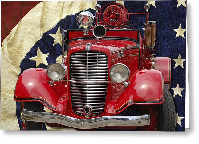 Patriotic Fire Truck Greeting Card