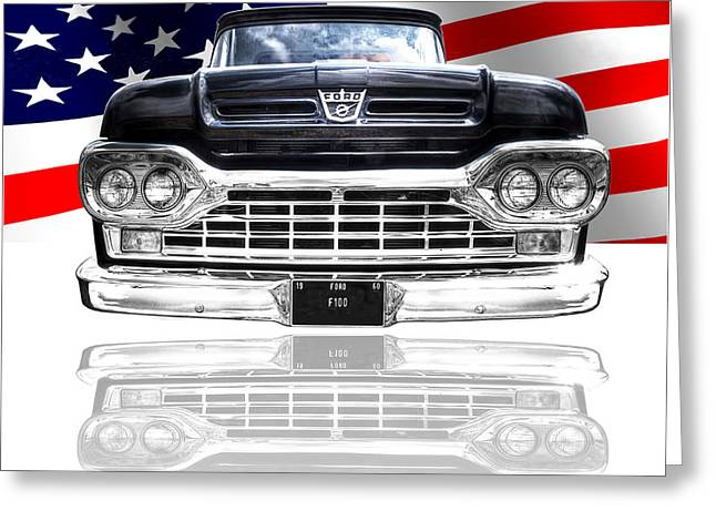 Patriotic Ford F100 1960 Greeting Card by Gill Billington