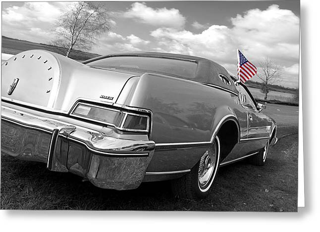 Patriotic Lincoln Continental 1976 Greeting Card by Gill Billington