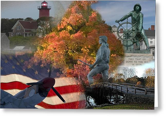 Patriotic Massachusetts Greeting Card