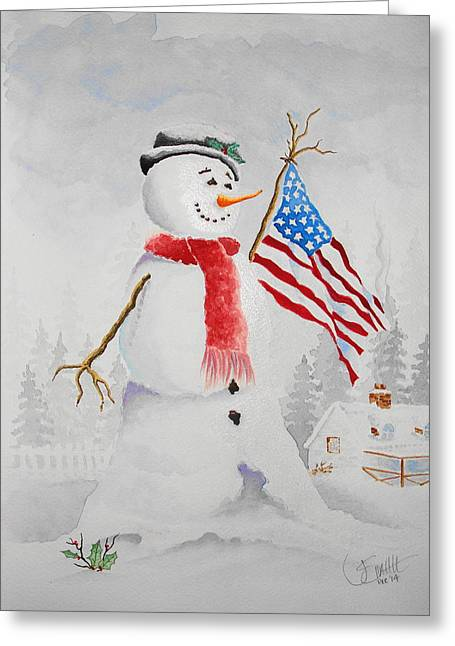 Patriotic Snowman Greeting Card by Jimmy Smith