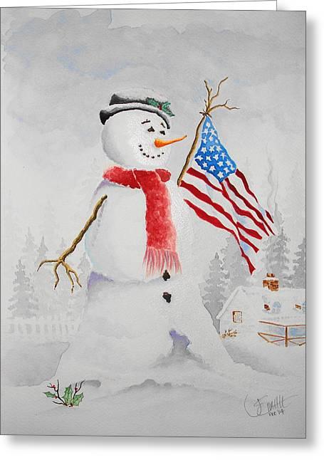 Patriotic Snowman Greeting Card