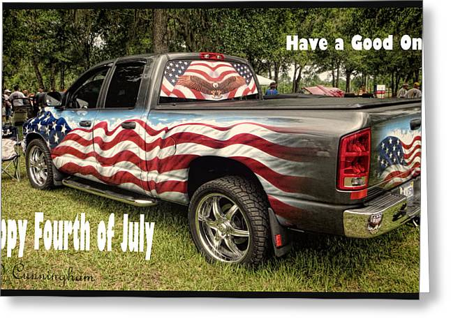 Patriotic Truck Greeting Card by Dorothy Cunningham