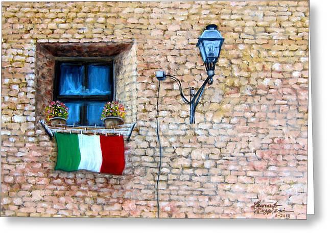 Patriotic Window Greeting Card by Leonardo Ruggieri