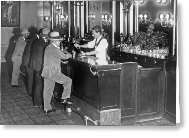 Patrons At A Speakeasy In Sf Greeting Card by Underwood Archives