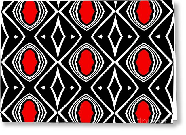 Pattern Geometric Black White Red Art No.391. Greeting Card by Drinka Mercep