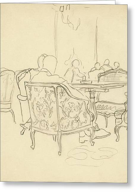 Patterned Chairs At A Restaurant Greeting Card by Carl Oscar August Erickson
