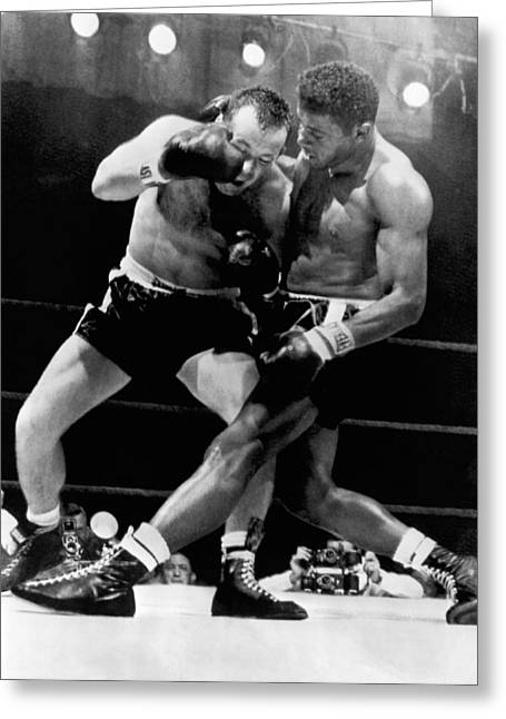 Patterson And Johansson Boxing Greeting Card by Underwood Archives