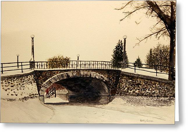 Patterson Creek Bridge In Winter Greeting Card