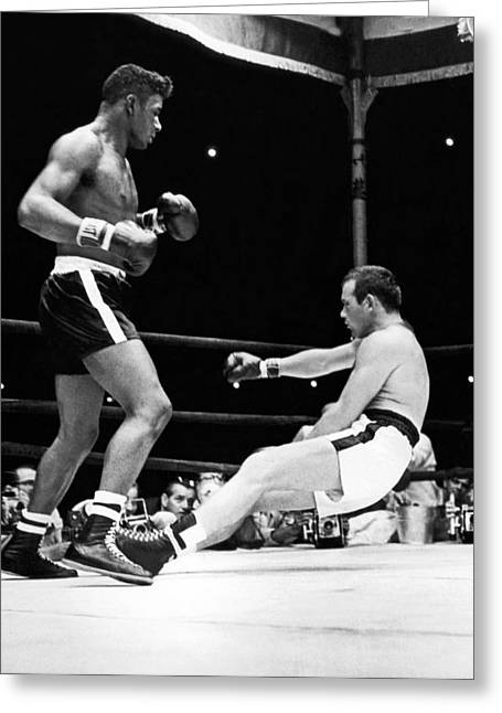 Patterson Knocks Out Johansson Greeting Card by Underwood Archives