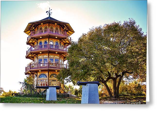 Patterson Park Pagoda Aglow  Greeting Card