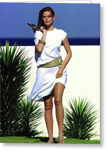 Model Wearing A White Dress Greeting Card