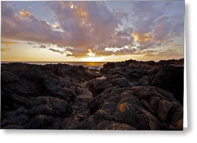 Pau Hana Sunset Greeting Card by Brian Governale