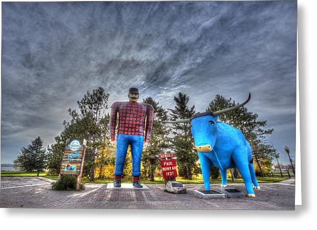 Paul Bunyan And Babe The Blue Ox In Bemidji Greeting Card