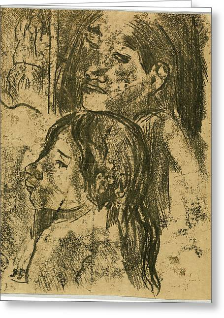 Paul Gauguin, Two Marquesans Recto, French Greeting Card