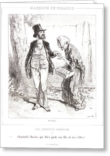 Paul Gavarni Aka Hippolyte-guillaume-sulpice Chevalier Greeting Card by Litz Collection