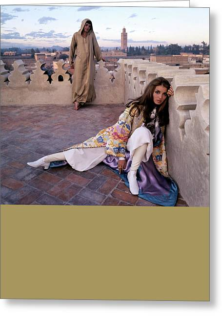 Paul Getty Jr And Talitha Getty On A Terrace Greeting Card by Patrick Lichfield