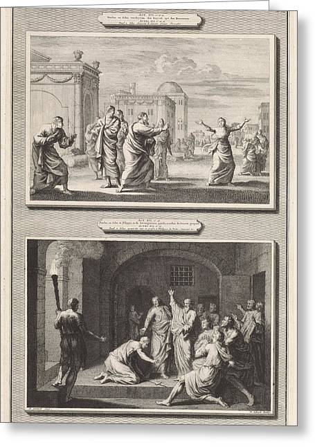 Paul Healed A Possessed Woman And The Conversion Greeting Card by Jan Luyken And Hendrik Elandt And Bernard Picart