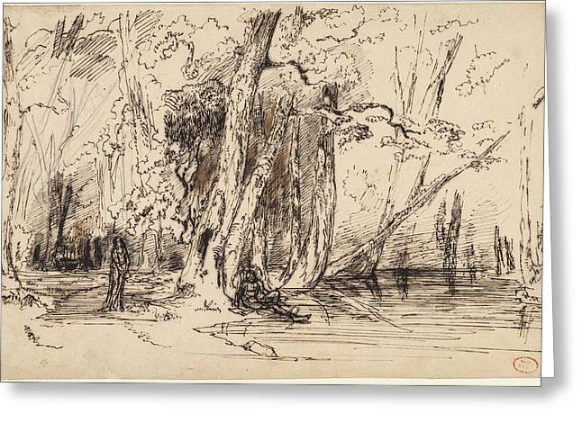 Paul Huet, Flooding In The Forest Of The Ile Séguin Greeting Card by Quint Lox
