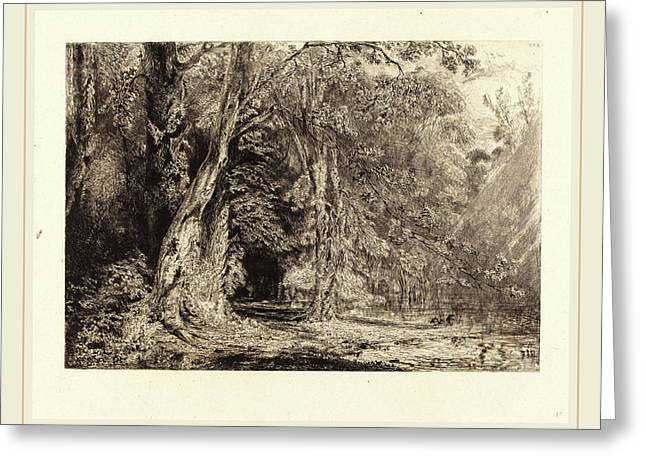 Paul Huet French, 1803-1869, Flooding In The Forest Greeting Card by Litz Collection
