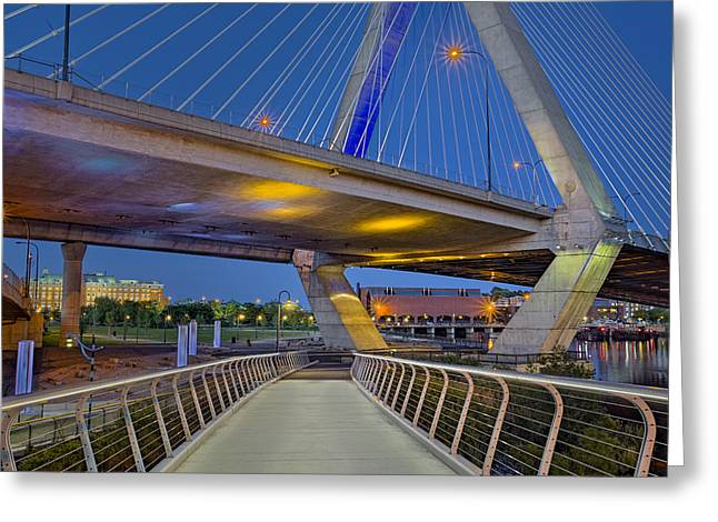 Paul Revere Park And The Zakim Bridge Greeting Card by Susan Candelario