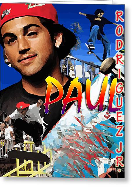 Paul Rodriguez Jr. Greeting Card by Israel Torres