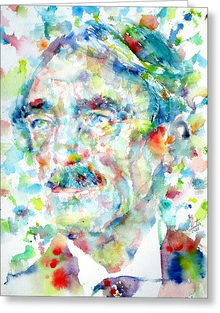 Paul Valery - Watercolor Portrait Greeting Card by Fabrizio Cassetta