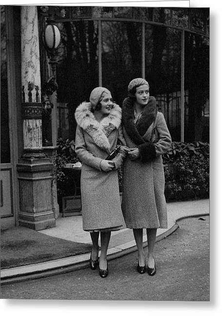 Paulette Amor De Ytrurbe And Sylvia De Rivas Greeting Card by George Hoyningen-Huen?