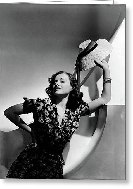 Paulette Goddard Holding A Straw Hat Greeting Card by Horst P. Horst