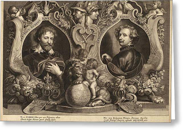 Paulus Pontius, After Sir Anthony Van Dyck And Erasmus Greeting Card