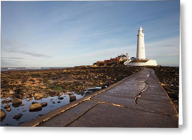 Paved Path To The Lighthouse On St Greeting Card