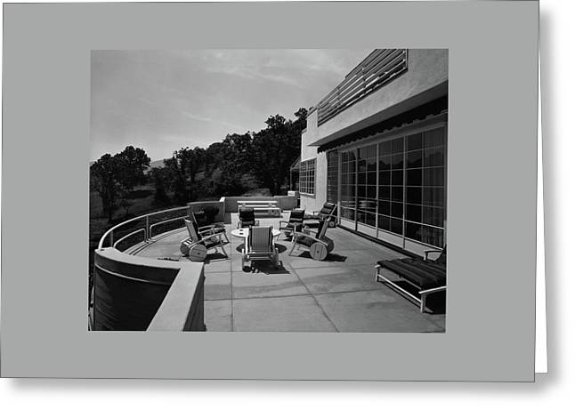 Paved Terrace At The Residence Of Mr. And Mrs Greeting Card by Clyde H. Sunderland