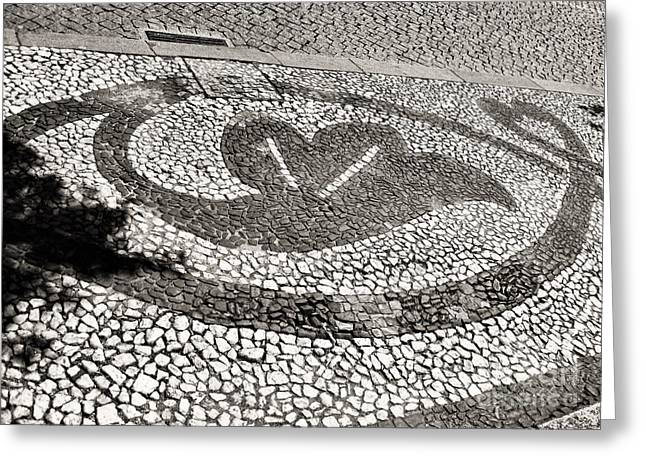 Greeting Card featuring the photograph Pavement Detail Portugal by Menega Sabidussi